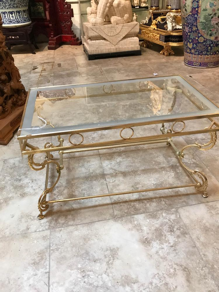 Gilded Bronze and Glass Top Coffee Table