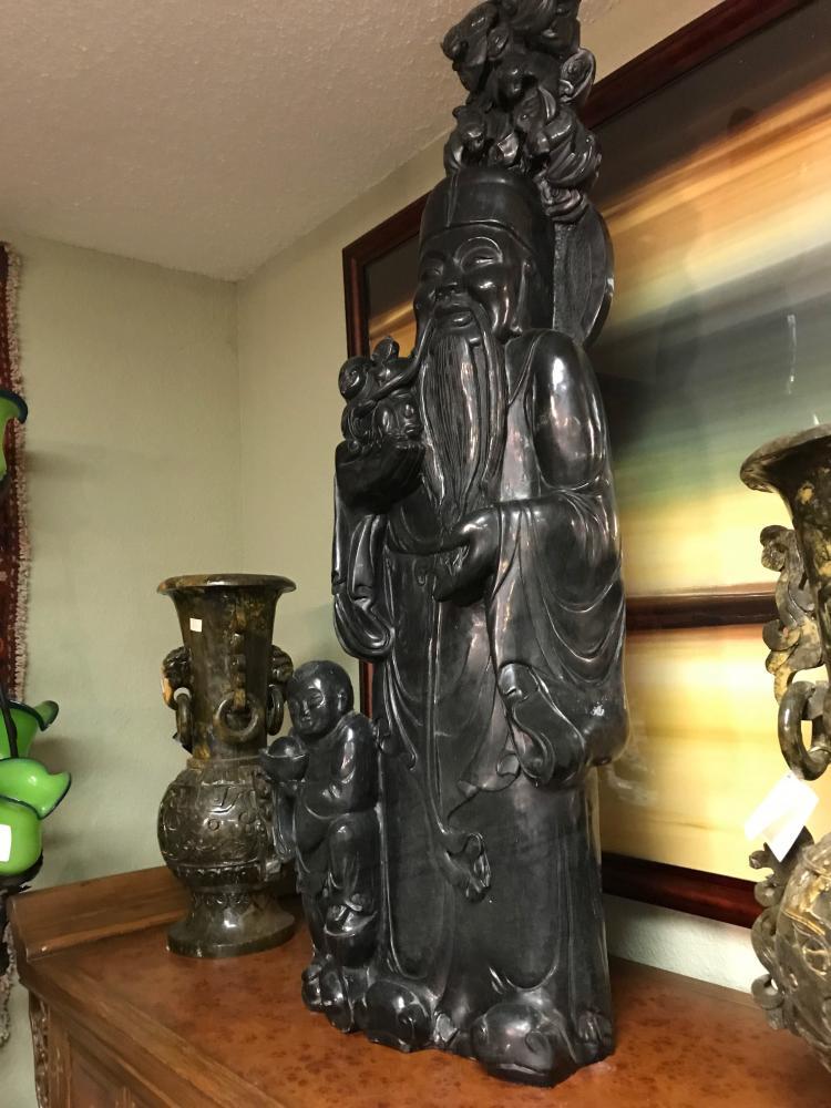 Black Carved Jade Statue of Wiseman