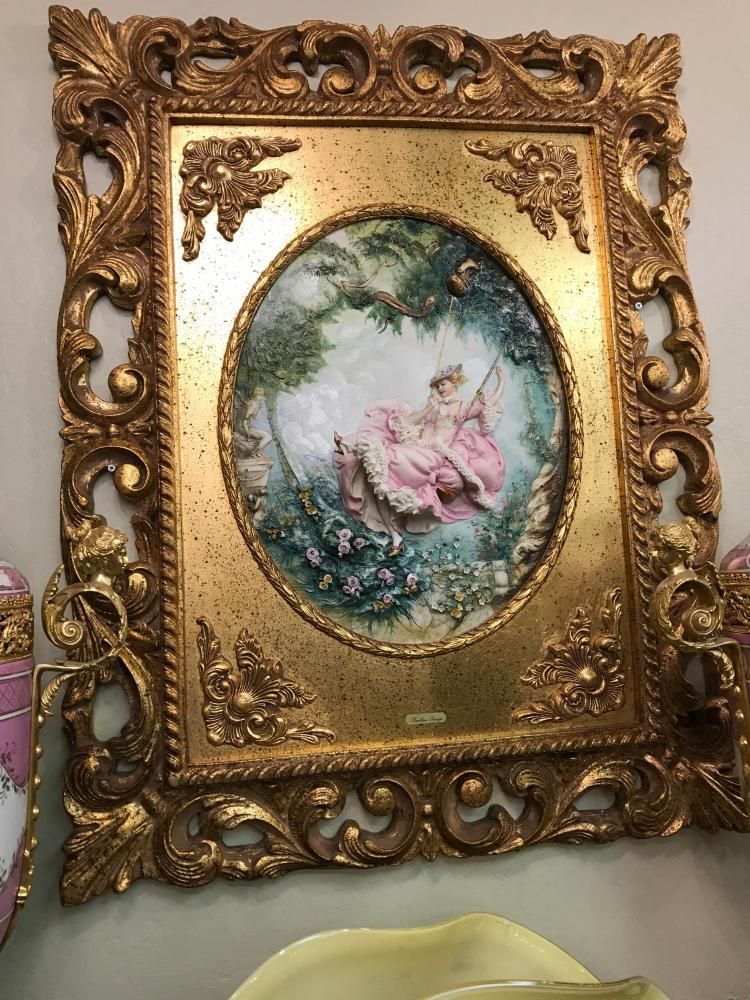 Capodimonte Porcelain Plaque of Woman on Swing