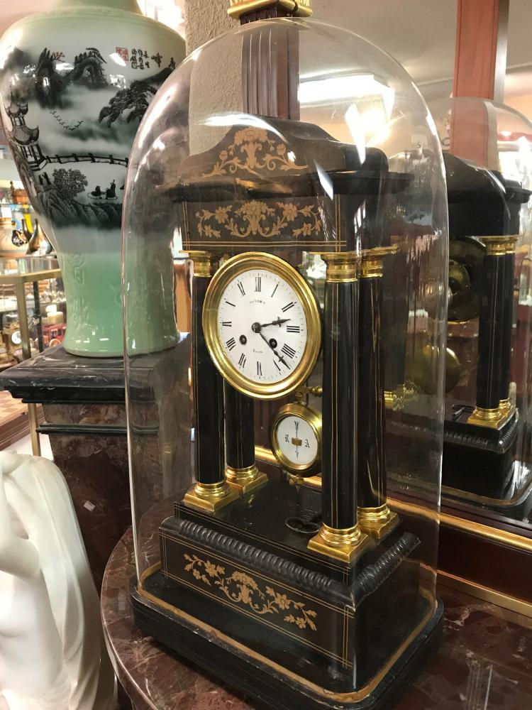 Antique Brass and Wood Clock with Glass Dome