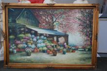Large Oil on Canvas - Flower Market