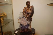 Large Bronze Statue of Couple with Amethyst by Vidal