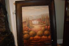Oil on Canvas Painting of Tuscan Vineyard, Signed