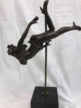 Magnificent Abstract Bronze Statue of Woman on Pole