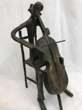 Abstract Bronze Statue of Man Playing the Cello