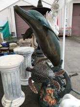 Bronze Dolphin and Sea Turtle Fountain w/ Color Patina
