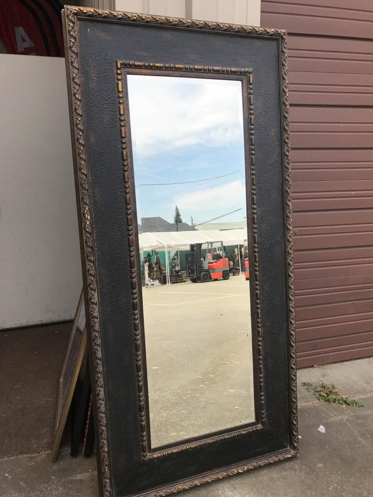 Large beveled glass mirror in heavy wood frame for Tall glass mirror