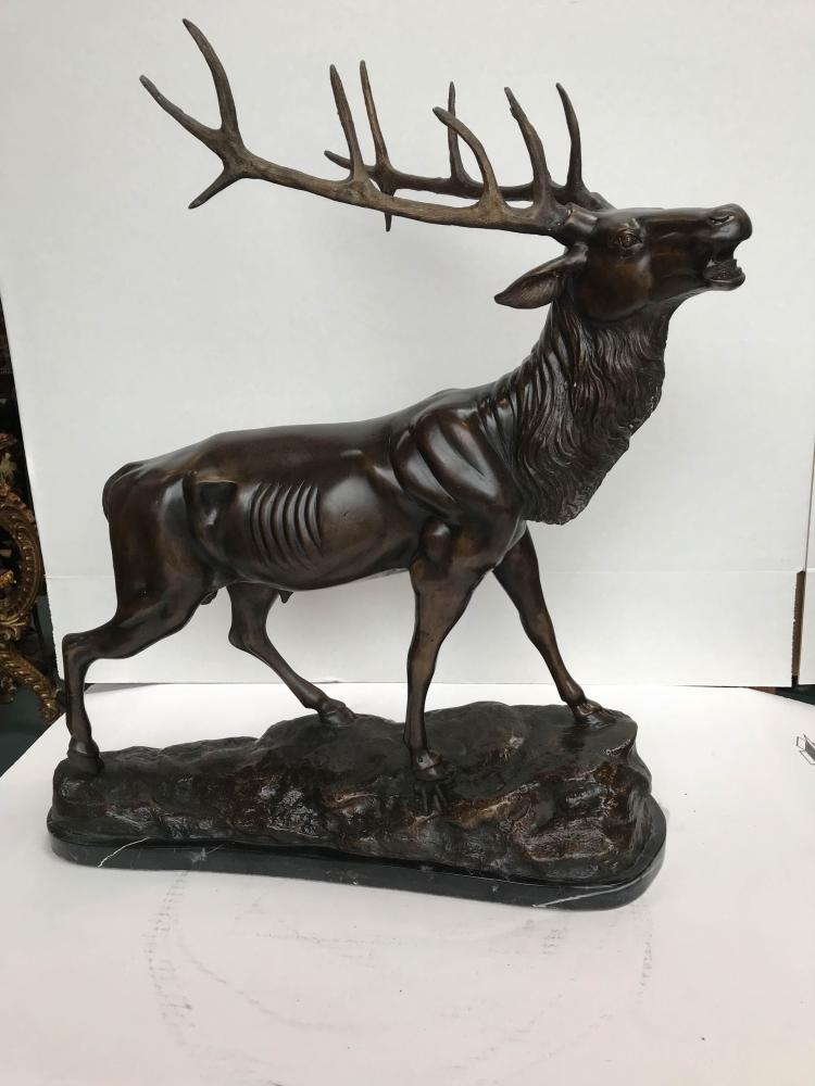 Bronze Buck Statue on Marble Base
