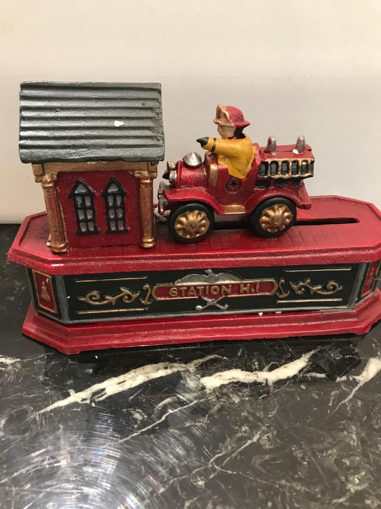 Cast Iron Mechanical Bank of Fire Station