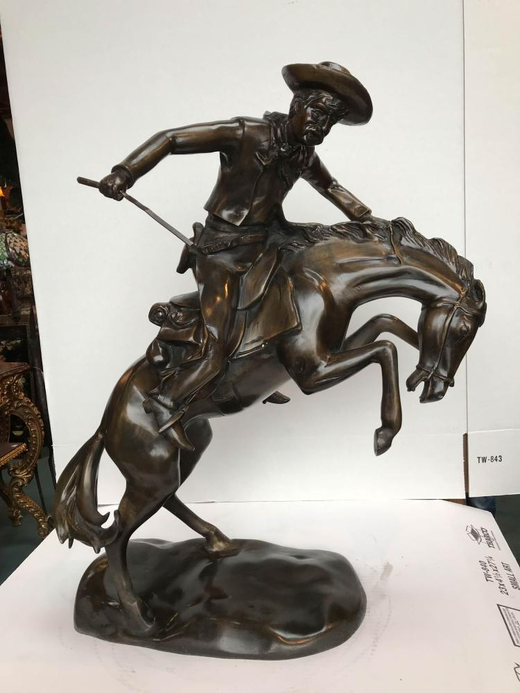 Bronze Statue of Cowboy on Horse