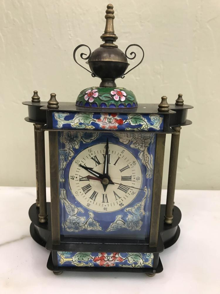 Miniature Cloisonne Mechanical Clock