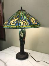 Tiffany Style Table Lamp W/ Bronze Accents