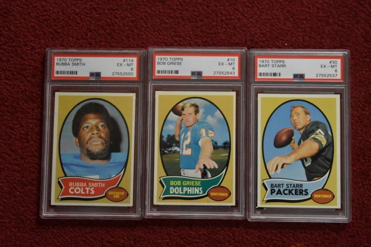 1970 Topps Bubba Smith Bart Starr Bob Griese Psa 6