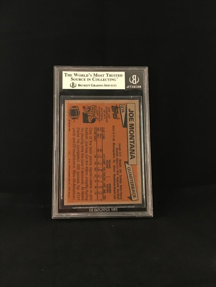 1981 Topps Joe Montana Rookie Card Bvg 5