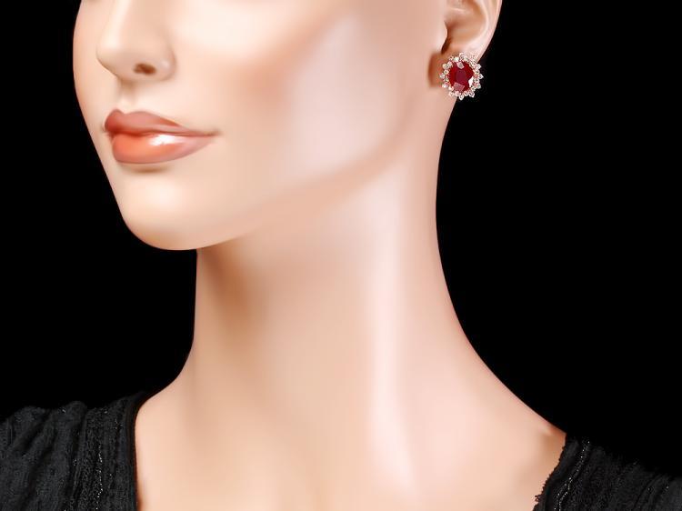 14k Rose Gold 10 00ct Ruby 1 40ct Diamond Earrings