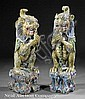 A Pair of Chinese Polychrome Painted Carved Wood