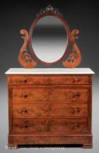 Rococo Carved Rosewood Mirror-Back Dressing Chest