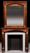Bronze-Mounted Mahogany Mantel, Overmantel Mirror