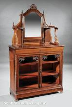 English Carved Rosewood Etagere Cabinet