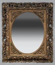 American Rococo Carved and Painted Mirror