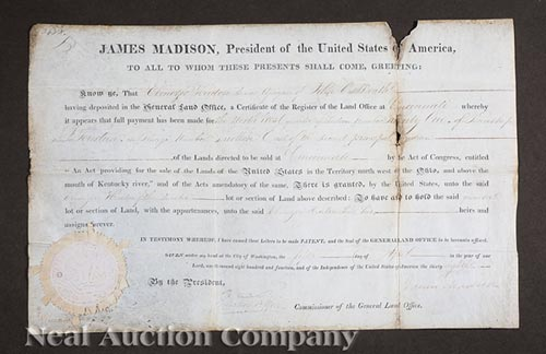 President James Madison Signed Land Grant