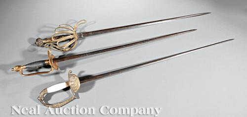 Three Antique British and French Swords