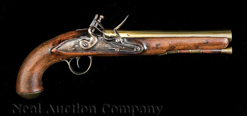 English Brass Barrel Flintlock Pistol