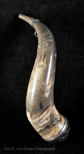 American Silver-Mounted Carved Powder Horn