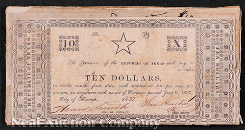 Two Republic of Texas Bank Notes Signed