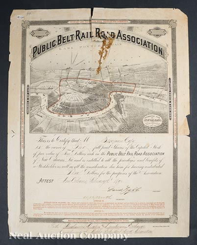 New Orleans Railroad Stock Certificate