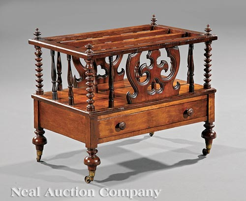 English Carved Rosewood Canterbury