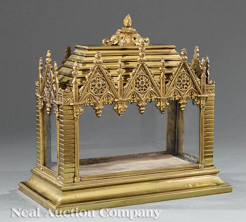 French Gothic Brass Reliquary Case