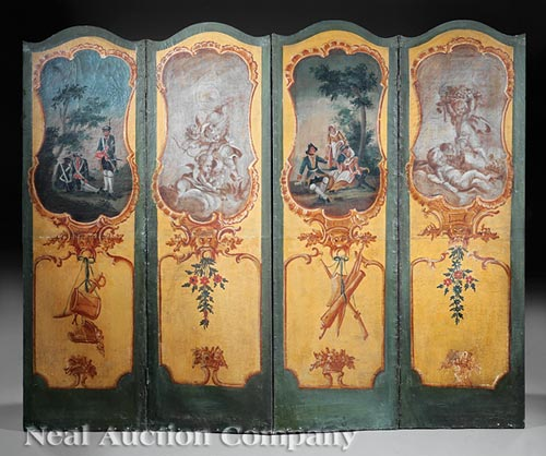 Louis XVI Oil on Canvas Folding Screen