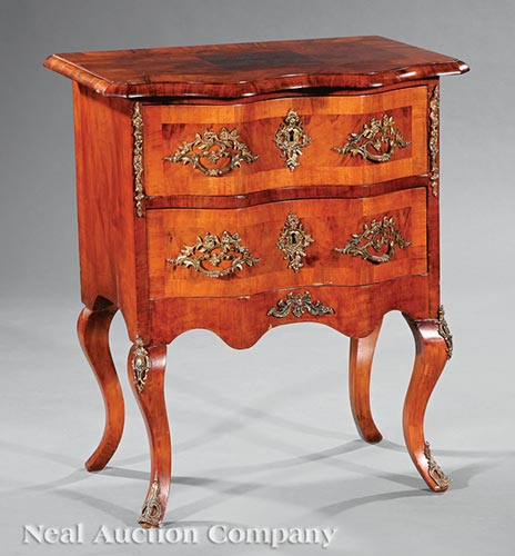 Continental Figured Walnut Commode