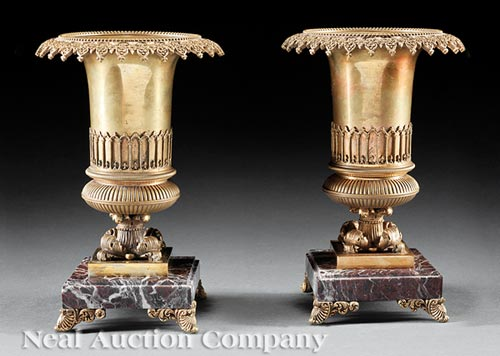 Pair of Charles X-Style Garniture Urns