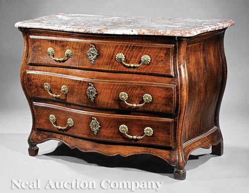 Louis XV Carved Walnut Commode