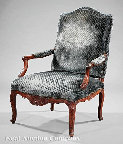 Regence Carved Walnut Fauteuil