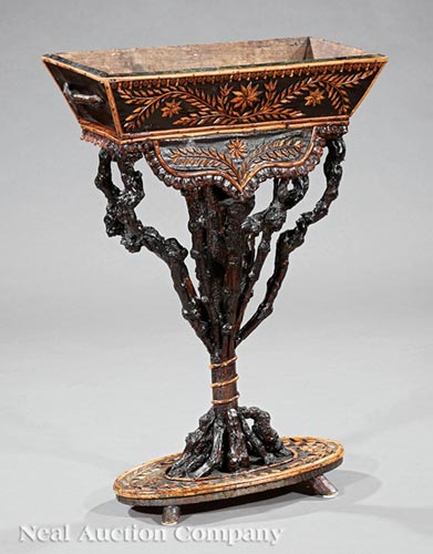 Rustic Carved Root and Vine Jardiniere