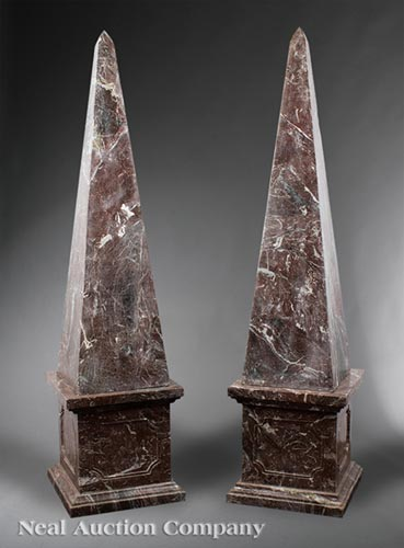 Pair of Rouge Marble Obelisks