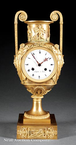 Empire Gilt Bronze Mantel Clock