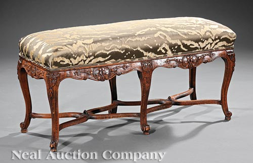 Louis XV-Style Carved Fruitwood Bench