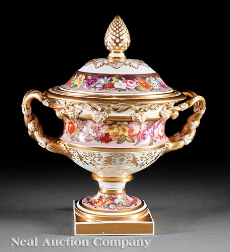 English Porcelain Covered Urn