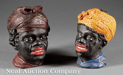 Pair of Carved and Polychrome Busts