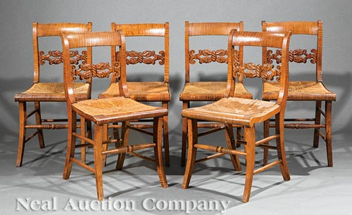 6 American Tiger Maple Side Chairs