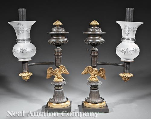 Pair of American Argand Lamps