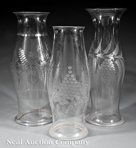 3 Etched Glass Hurricane Shades