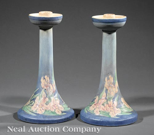 Pair of Newcomb College Candlesticks