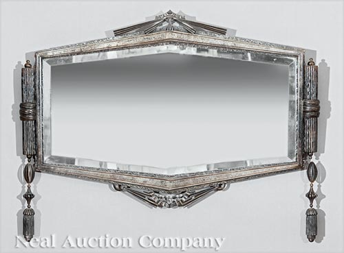 French Art Deco Cast Iron Mirror