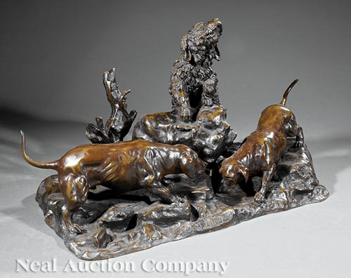 Patinated Bronze Figural Group of Dogs