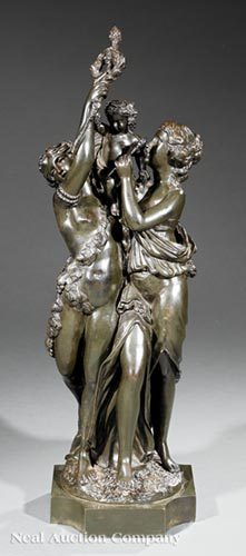 Bronze Figural Group of Two Women and a Putto